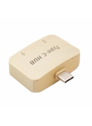 Techmaster Type-C Usb 3.1 Çoklayıcı Hub 2 USB 3.0 2 Port Usb Hub Altın